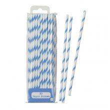 30 cannucce di carta a strisce azzurre