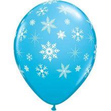 8 Palloncini Azzurri con fiocchi di neve