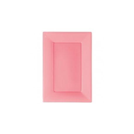 Vassoio plastica rosa rettangolare 3 pz