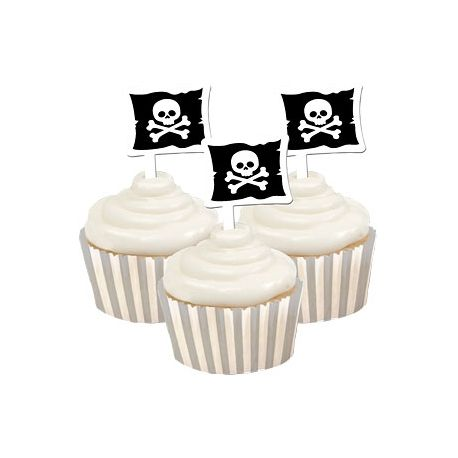 12 Avvolgi Muffin e Topper Bandiera Pirati