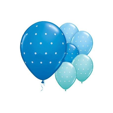 Kit 6 palloncini fantasia azzurra pois bianchi