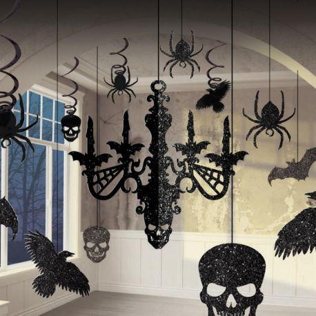 Halloween 10 decorazioni nere e glitter
