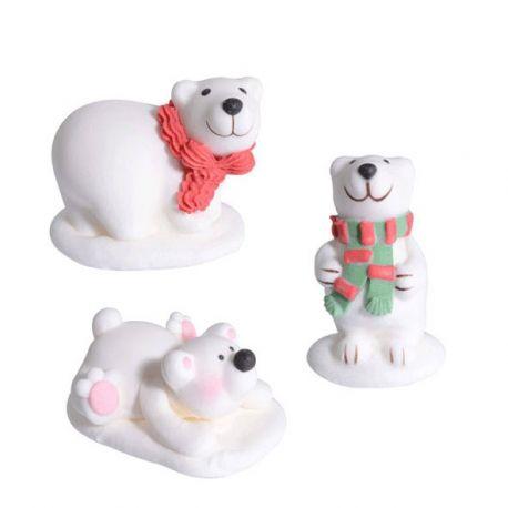 Kit 3 decorazioni in zucchero Orsi Polari