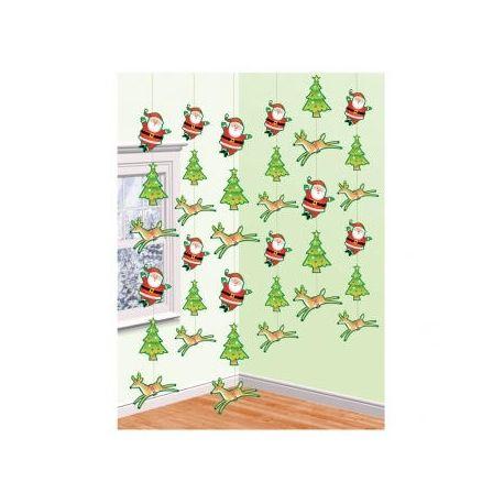 6 Decorazione Renne e Babbo Natale