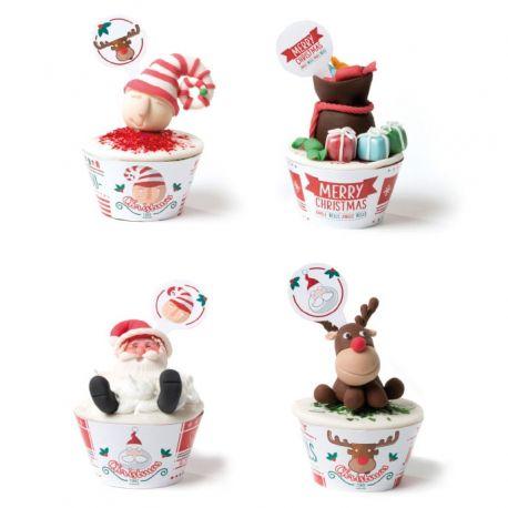 Kit  Wrappers Avvolgi muffin Natale 12 picks