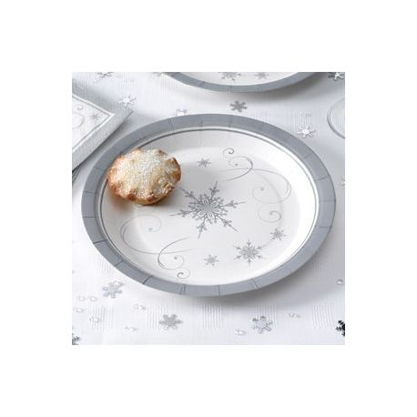 Piatti fantasia fiocchi di neve bianco argento