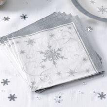 Tovaglioli fantasia fiocchi di neve argento