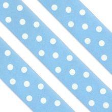 Nastro in raso azzurro con pois bianchi
