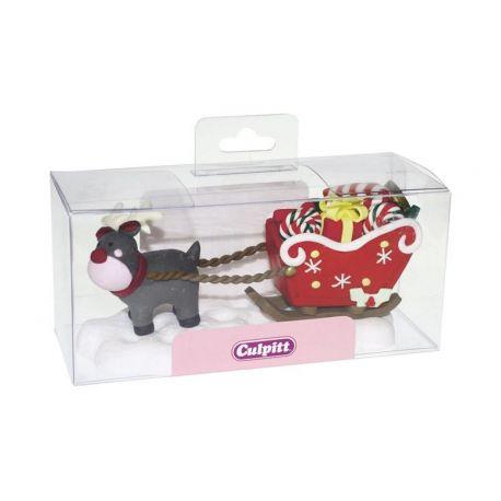 Decoro torta Natale in resina Rudolf e slitta