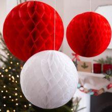 3 Decorazioni Natale sfere bianco e rosse
