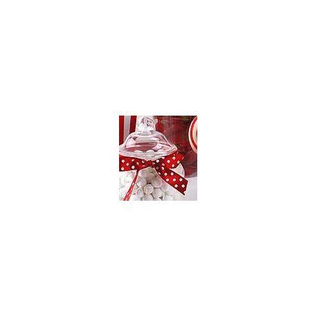 Nastro in raso rosso con pois bianchi