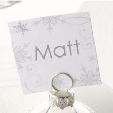 10 Card segnaposto design bianco argento