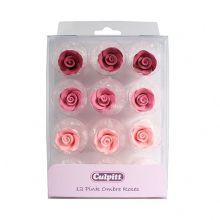 12 Rose in  zucchero Sfumature di Rosa