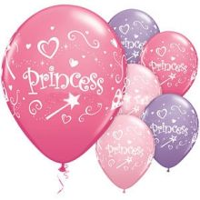 6 Palloncini Princess in lattice Violetto-Rosa