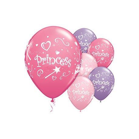6 Palloncini Princess in lattice Violetto-Rosa