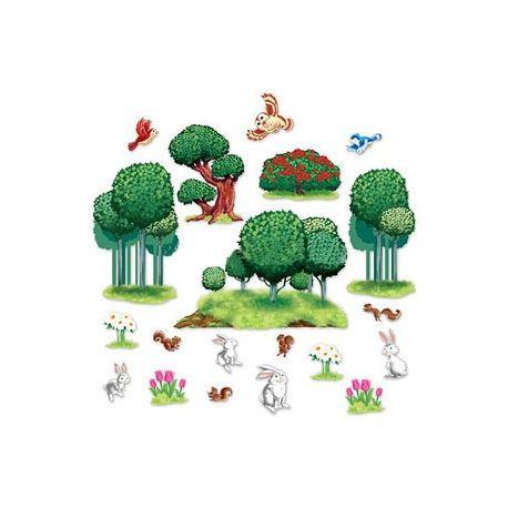 Decorazione alberi e animali del bosco