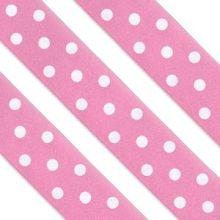 Nastro in raso rosa con pois bianchi