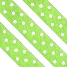 Nastro in raso verde con pois bianchi