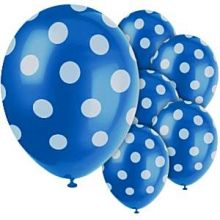 6 Palloncini Blu con Pois Bianchi 30cm