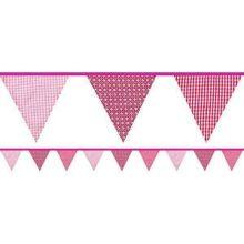 Festone in tessuto fantasia in rosa 3 m