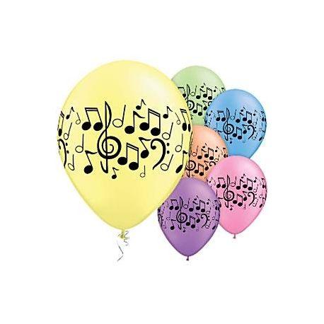8 palloncini note musicali mix colori