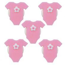 Neonata - Decorazioni in zucchero Tutina Rosa