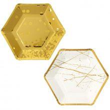 Piatti in carta oro metallizzato esagonali ( 8 pz)