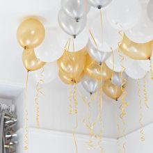 30 palloncini metallo oro, argento, bianco