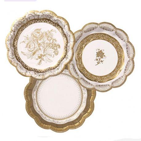 Piatti Dessert di Carta Decoro Oro