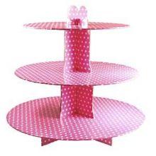 Alzatina Porta Cupcakes Rosa a Pois