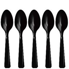 20 Cucchiaini in  Plastica Neri