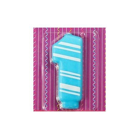 Candelina N°1 azzurra a righe