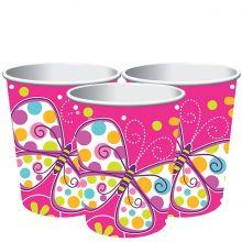 Bicchieri di carta Fucsia e Farfalle
