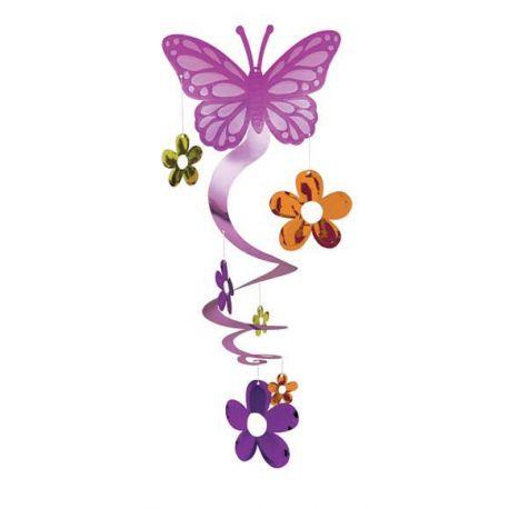 Decorazione Farfalla con pendenti Fiori Colorati
