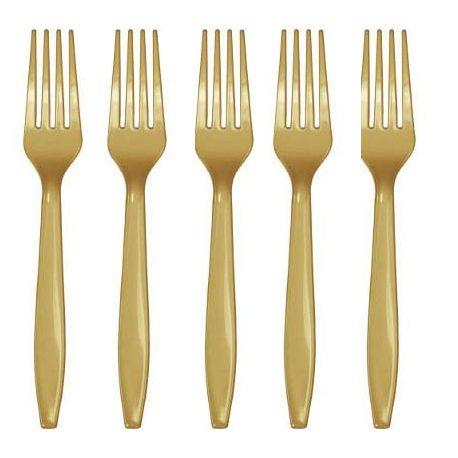 Forchette Plastica Oro Metallo (24 pz)