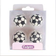 Decorazioni in zucchero palloni da calcio (12 pz)