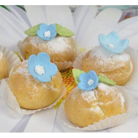 Fiori di zucchero azzurri e foglie (16 pz)