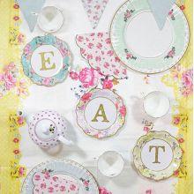 Piatti Tè Party  Scritta TEA - EAT (12 pz)