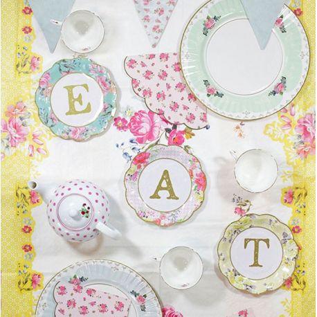 Piatti Tè Party  Scritta TEA - EAT