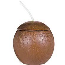 Coppa in plastica a forma di cocco con fiore