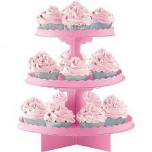 Alzatina per cupcakes Rosa a 3 piani