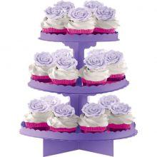 Alzatina per cupcakes Violetto a 3 piani