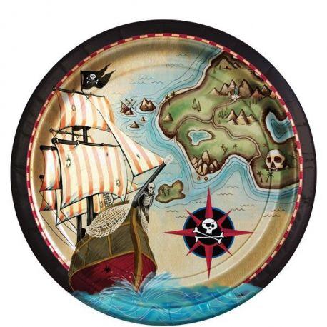 Piatti Pirati Mappa del Tesoro (8 pz)