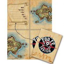 Inviti pirati- Festa Pirati 8 Biglietti Invito