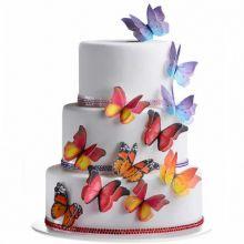 Farfalle in cialda 3D per  torte 6 pz