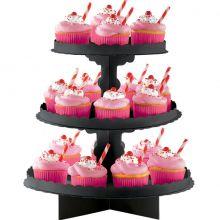 Alzatina cupcakes colore Nero a 3 piani