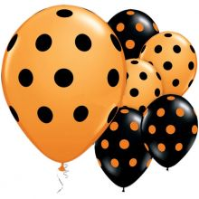 Palloncini  neri e arancioni a pois (6 pz)