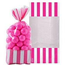Sacchetti porta dolci Strisce Rosa  (10 pz)