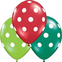 6 Palloncini Natale Rosso Verde a Pois