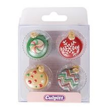 Topper cupcakes Natale Zucchero -12 pz -NON EDIBILE